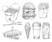 Fast food set hand drawn vector monochrome illustration. Burger and ice-cream, sandwich and french fries, coffee cup and cola can, noodles in box