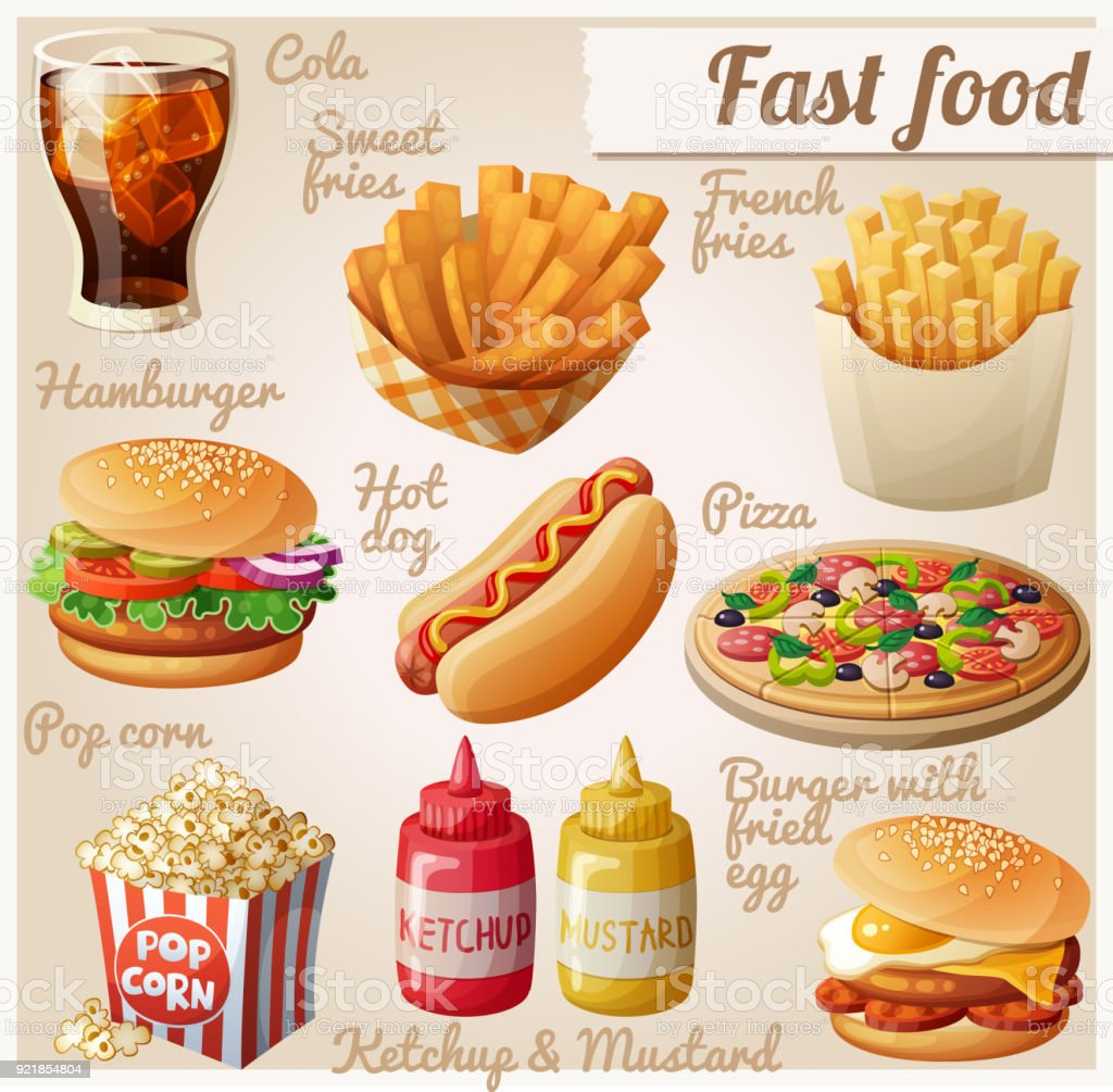 Fast food. Set of cartoon vector food icons. Ketchup, mustard, glass...