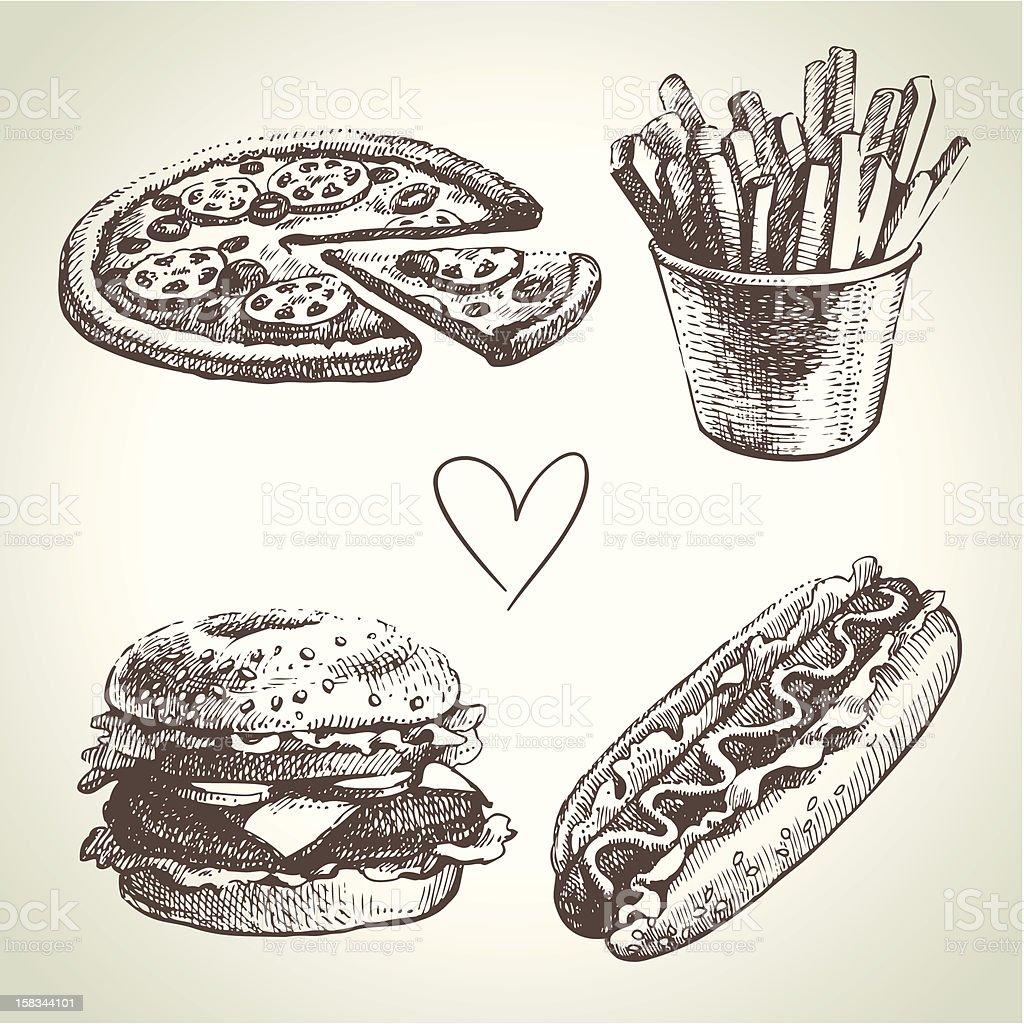 Conjunto de Fast food - ilustração de arte em vetor