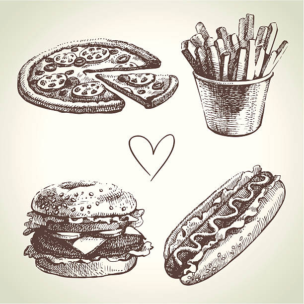 Fast food set Fast food set. Hand drawn illustrations french fries stock illustrations