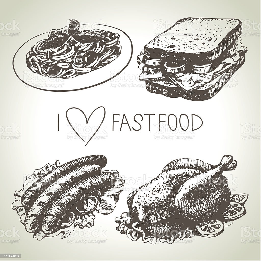 Fast food set royalty-free stock vector art