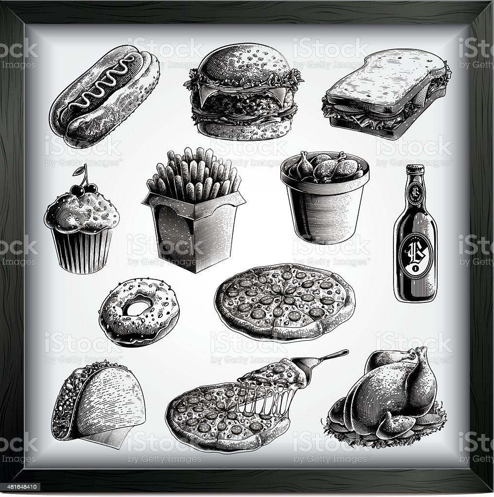 Fast food set vector art illustration