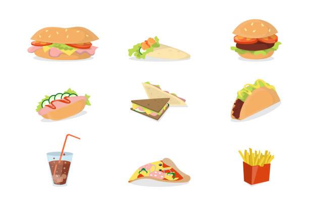 illustrazioni stock, clip art, cartoni animati e icone di tendenza di fast food set. - panino