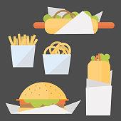 Fast food set. Vector  illustration.