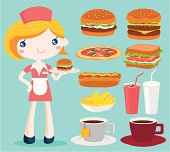 Waitress and fast food collection. Zip contains AI, Jpeg and PDF formats.