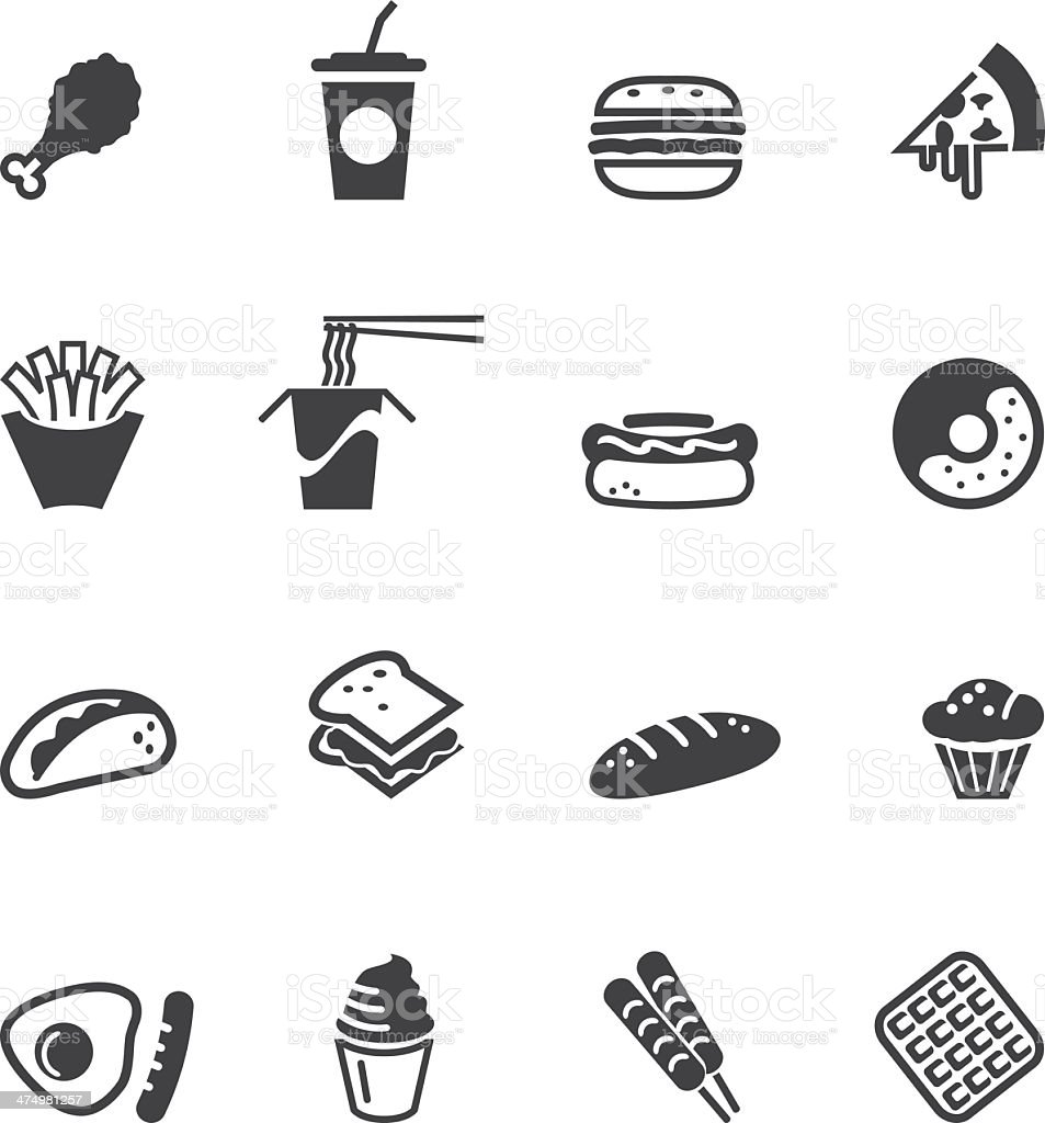 Fast food Silhouette Icons vector art illustration