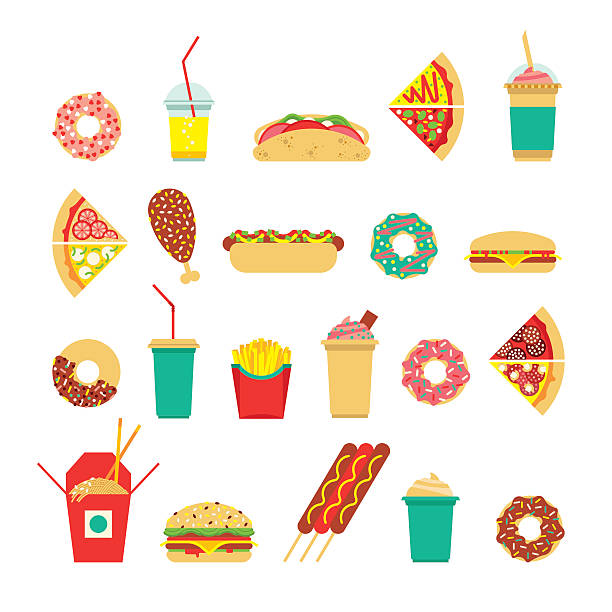 fast food sim 3 - junk food stock illustrations, clip art, cartoons, & icons
