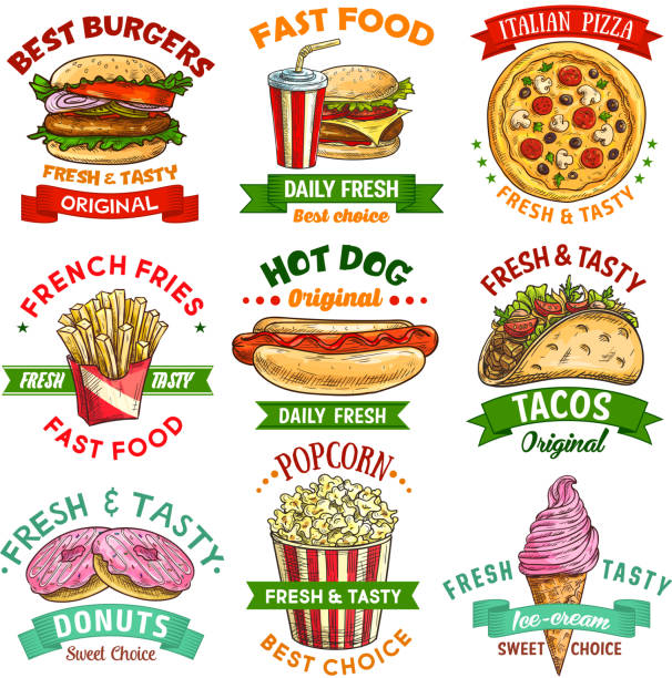 fast-food skizzieren emblem set mit burger und getränke - schnellkost stock-grafiken, -clipart, -cartoons und -symbole