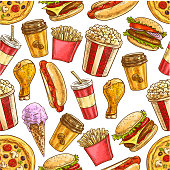 Fast food seamless pattern. Vector fastfood snacks, drinks, desserts. Popular american fast food cheeseburger, french fries, hot dog, popcorn and crispy chicken leg, pizza, ice cream and soda, coffee