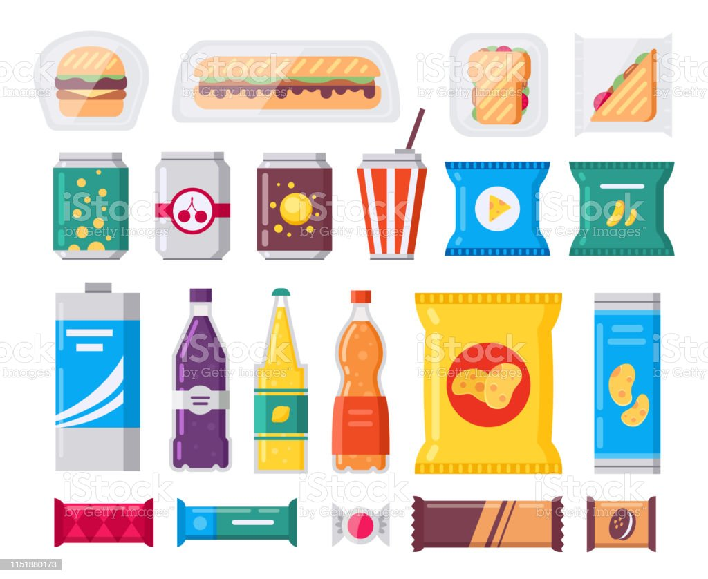 Fast food snack and drink pack, vector icons set in flat style....
