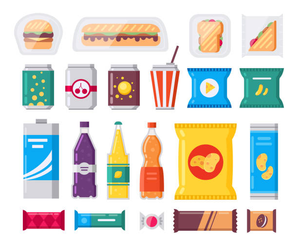 ilustrações de stock, clip art, desenhos animados e ícones de fast food snack and drink pack, vector icons set in flat style. vending products collection. snacks, drinks, chips, cracker, coffe, sandwich isolated on white background. - sumo
