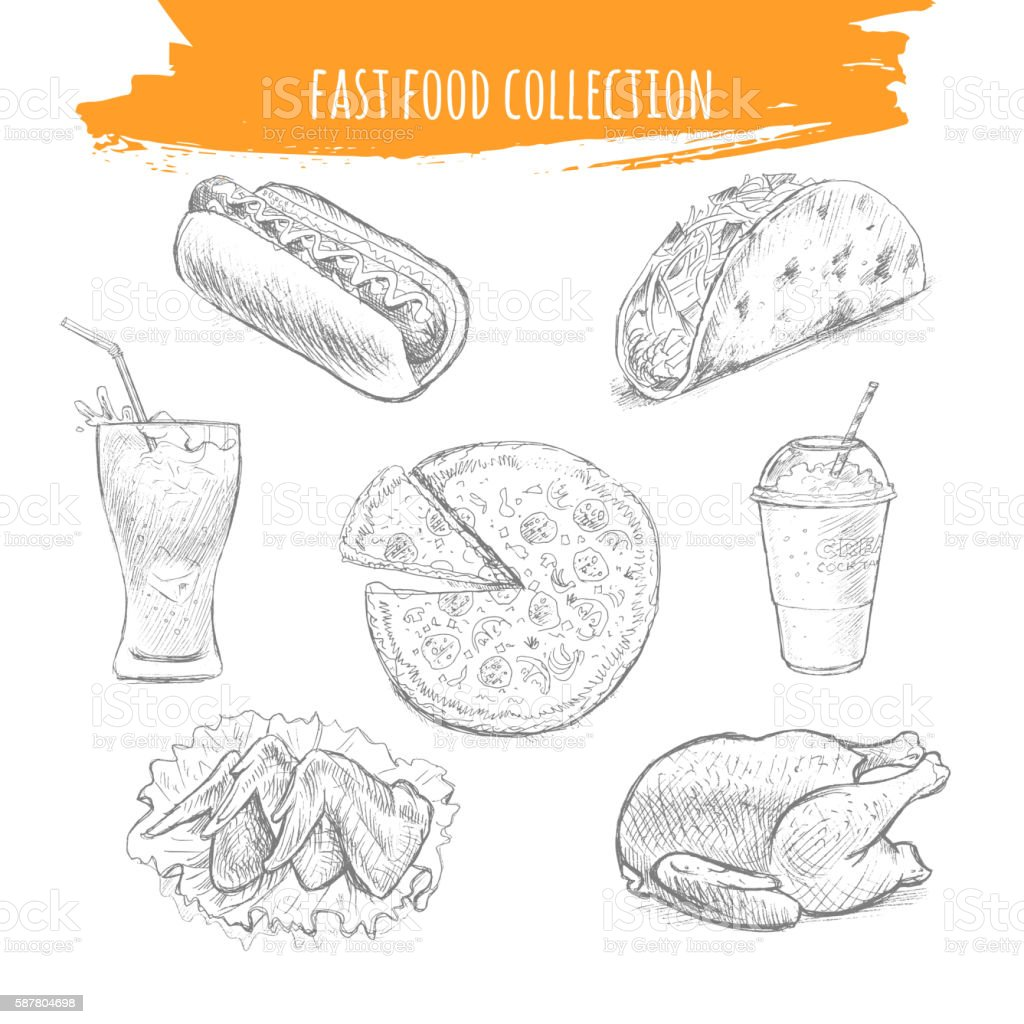 Fast food snacks and desserts sketch icons vector art illustration