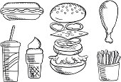 Fast food snacks and drink sketch icons