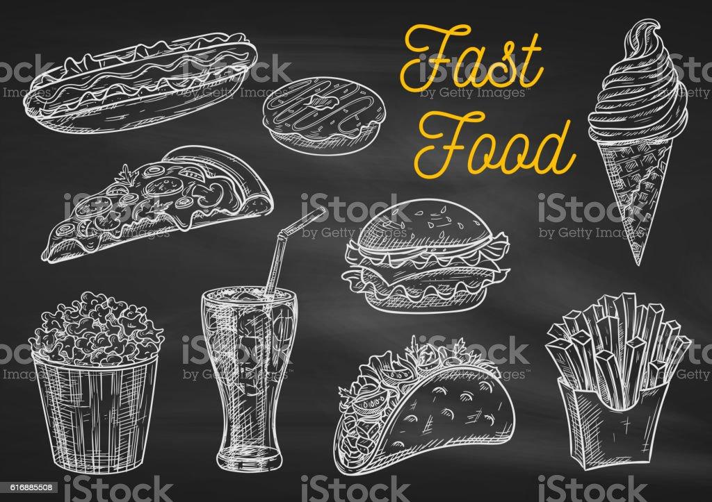 Fast food snacks and drinks chalk sketch icons - ilustração de arte em vetor