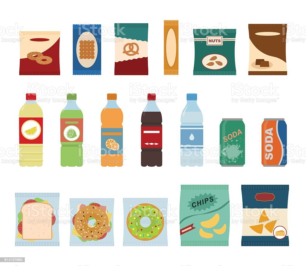 Fast food snacks and drinks flat icons. vector art illustration