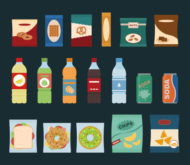 fast food snacks and drinks flat icons. vending machine with chip. - empty vending machine stock illustrations