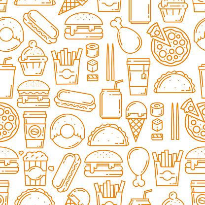 Fast food snacks, desserts seamless line pattern