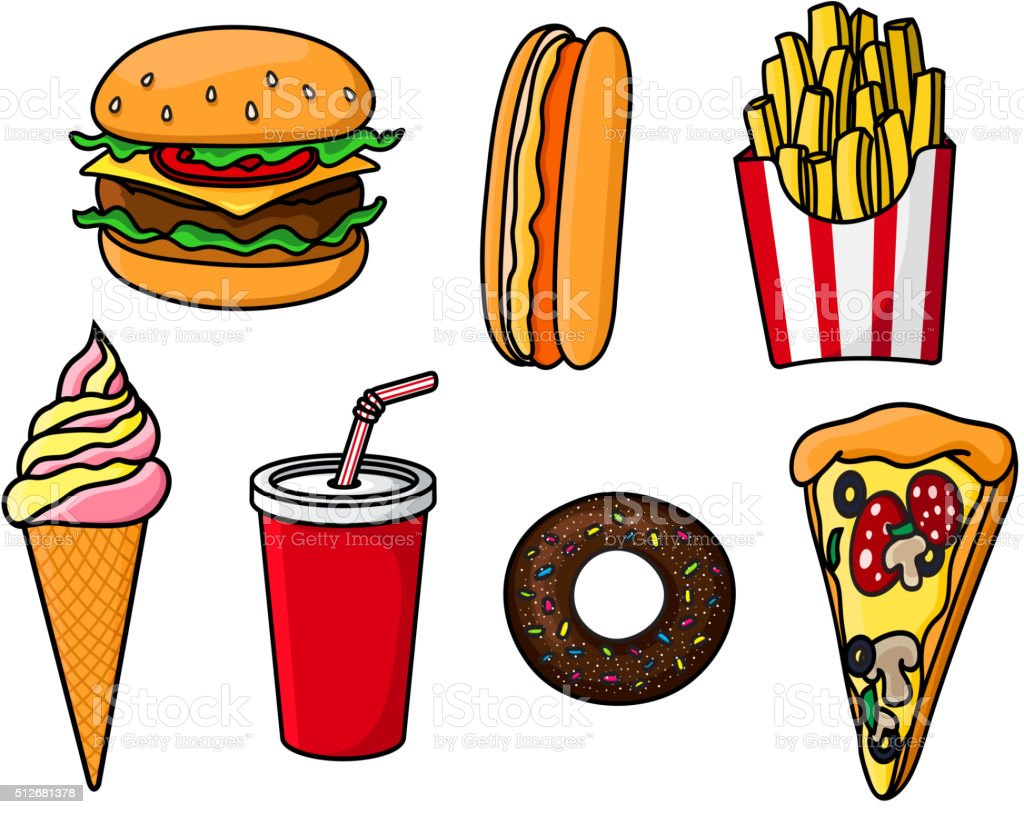 Fast Food Snacks Drink And Desserts Stock Vector Art