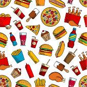 Fast food snacks, drinks seamless background
