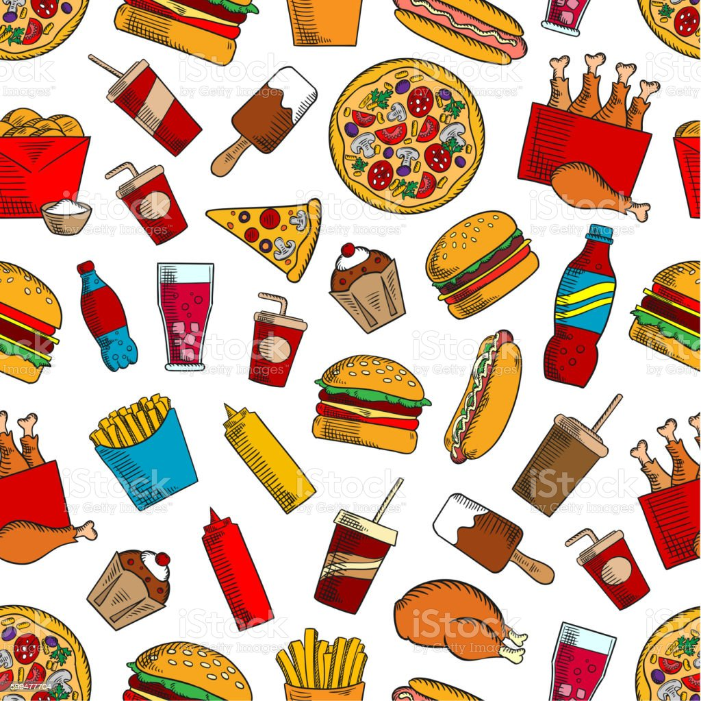 Fast food snacks, drinks seamless background - Illustration vectorielle