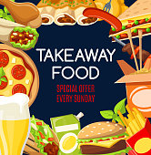 Fast food menu cover of takeaway snacks and drinks special offer. Vector fastfood restaurant or cafe burgers, pizza or Mexican burrito and Asian noodles with chicken grill legs and kebab