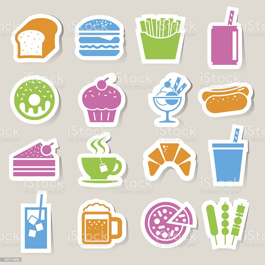 Fast Food sticker icon set. royalty-free fast food sticker icon set stock vector art & more images of bakery
