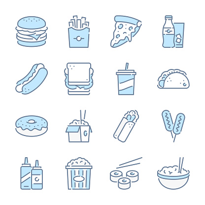 Fast food, Street food and Take away related blue line colored icons.