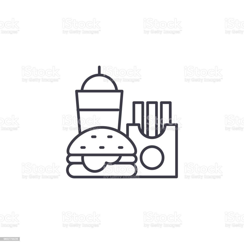 Fast food symbol line icon, vector illustration. Fast food symbol...