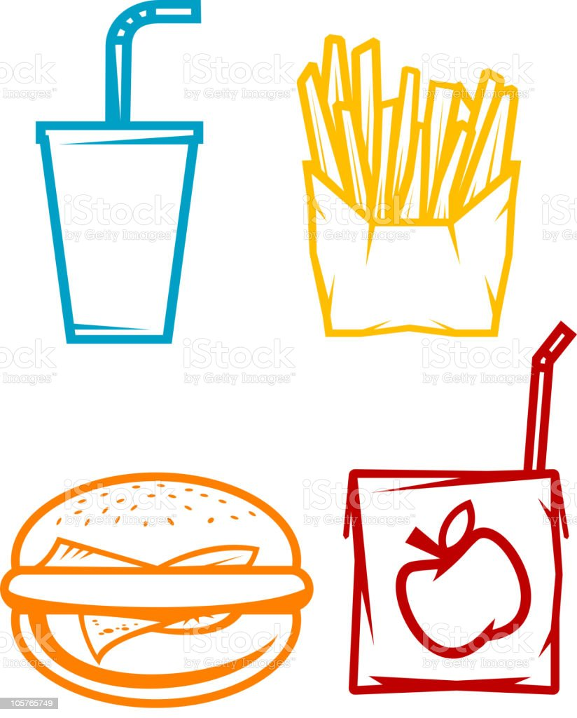 Fast food symbols royalty-free stock vector art