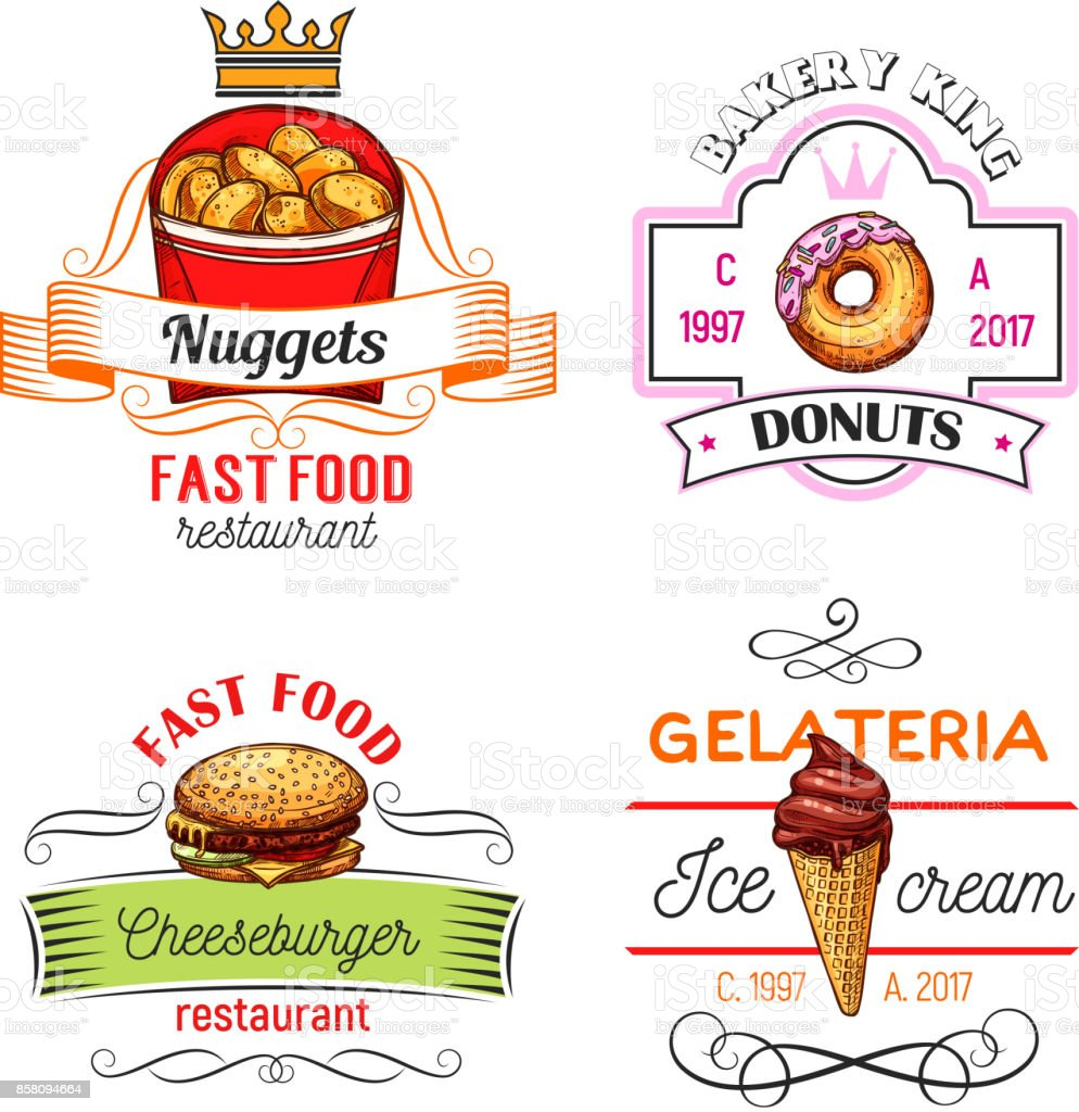 Fast Food Symbols With Burger Donut And Ice Cream Stock Vector Art