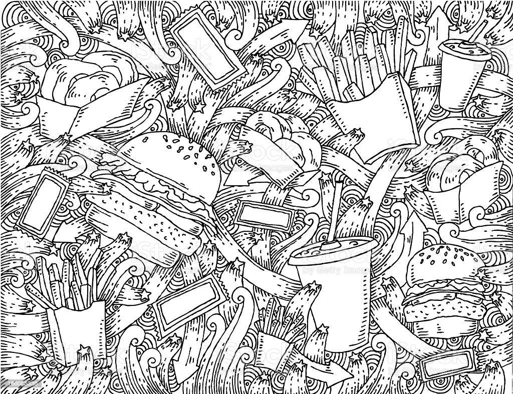 Fast food themed doodle background vector art illustration