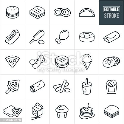 A set of fast food icons that include editable strokes or outlines using the EPS vector file. The icons include a hamburger, grilled cheese sandwich, onion rings, taco, hotdog, corndog, chicken leg, doughnut, burrito, pizza, ice cream cone, bagel with cream cheese, pizza slice, breakfast burrito, french fries, soft drink, Chinese food, muffin, pancakes and a sandwich.