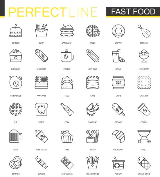 Fast food thin line web icons set. Outline stroke icons design. vector art illustration