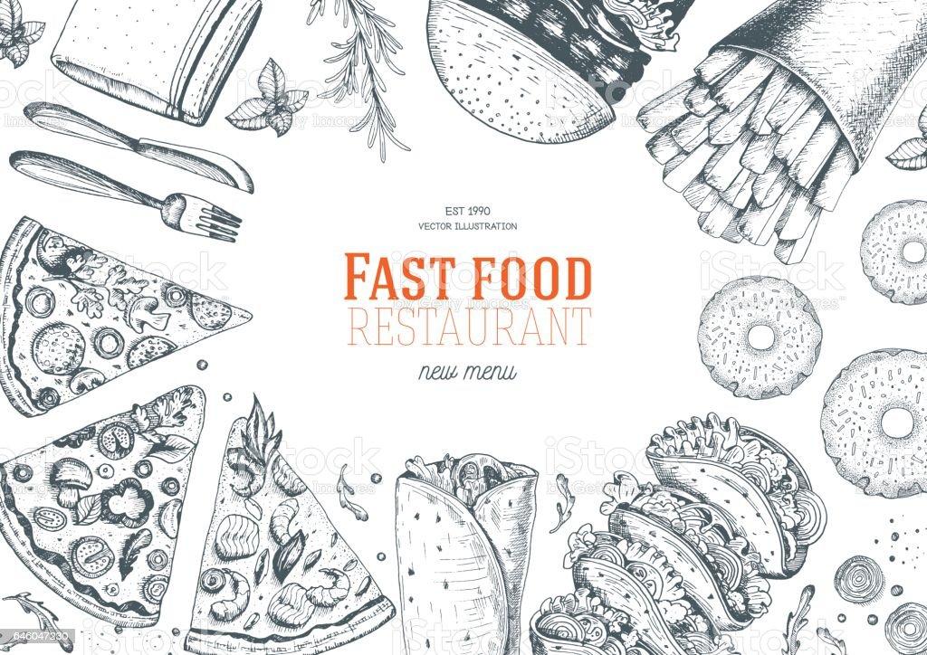 Quadro de vista superior de fast-food. - ilustração de arte em vetor
