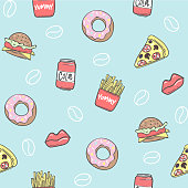 Fast food. Trendy seamless pattern background. Vector illustration fast food. EPS10
