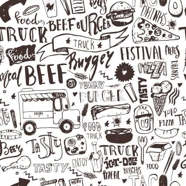 Fast food truck Seamless pattern with lettering and doodle items. Vector festival background for menu, wrapping. vector art illustration