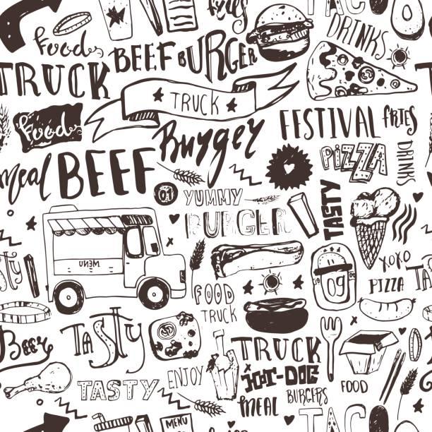 fast-food truck seamless pattern mit schriftzügen und doodle elemente. vector festival hintergrund für menü, einwickeln. - imbisswagen stock-grafiken, -clipart, -cartoons und -symbole