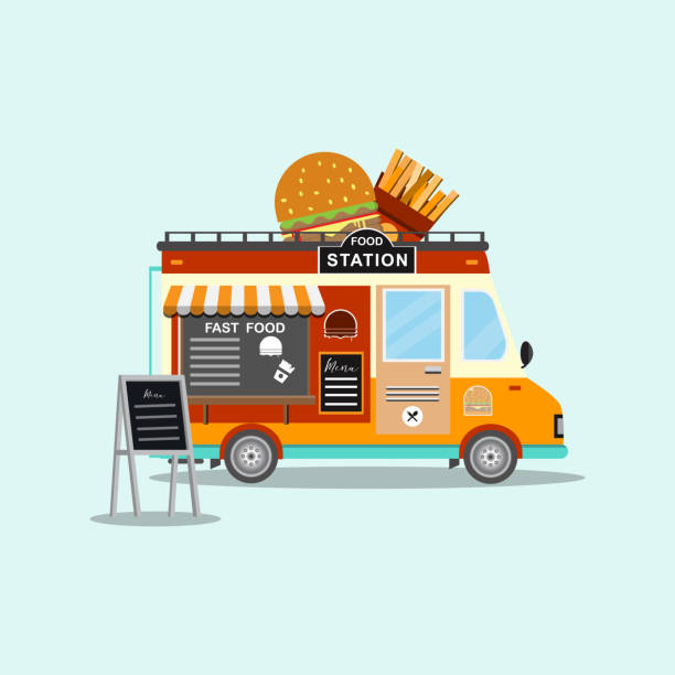 fast-food-lkw. straße und fast-food-festival - imbisswagen stock-grafiken, -clipart, -cartoons und -symbole