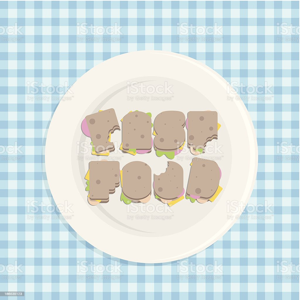 Fast food typography - Royaltyfri Banta vektorgrafik