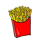 Fast Food. Vector French fries in red carton package