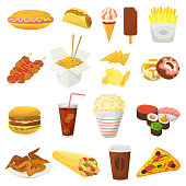 Fast food vector hamburger or cheeseburger with chicken wings and eating junk fastfood snacks burger or sandwich with soda drink icecream or donut illustration isolated on white background
