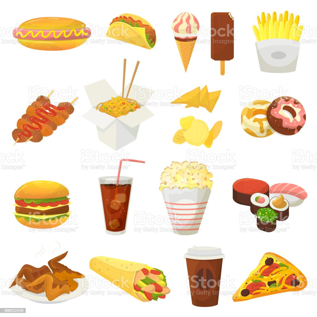 Fast food vector hamburger or cheeseburger with chicken wings and eating junk fastfood snacks burger or sandwich with soda drink icecream or donut illustration isolated on white background vector art illustration