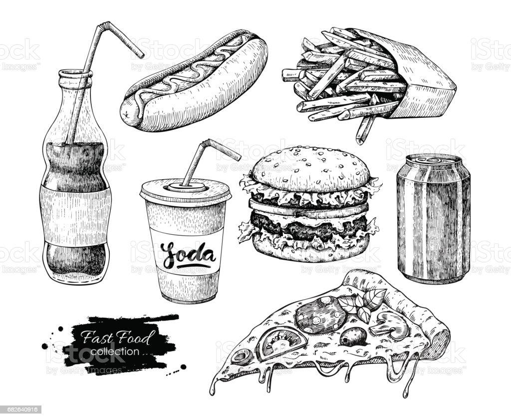 Conjunto de mão desenhada vetor fast-food. Gravado estilo junk food Ilust - ilustração de arte em vetor