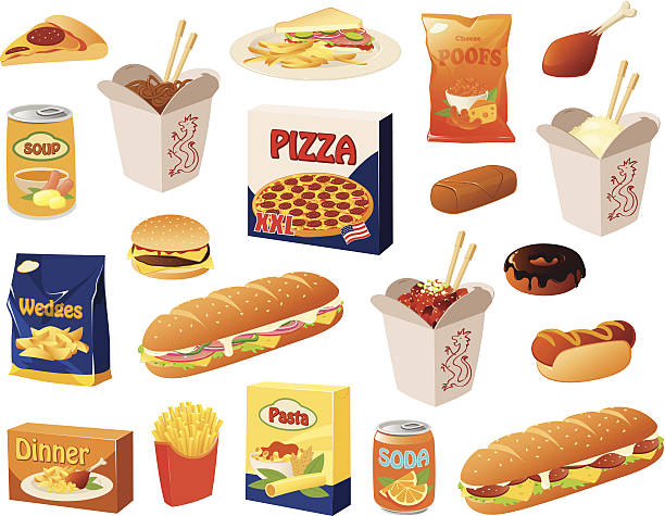 stockillustraties, clipart, cartoons en iconen met fast food - gemaksvoedsel