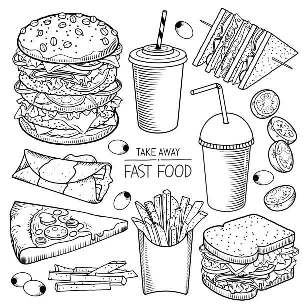 bildbanksillustrationer, clip art samt tecknat material och ikoner med fast food vektor illustrationer - crepe