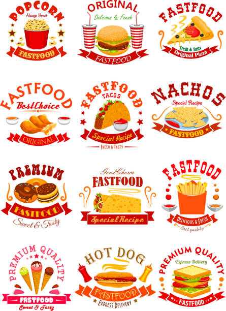 bildbanksillustrationer, clip art samt tecknat material och ikoner med fast food vektor isolerade ikoner, emblem, band - cheese sandwich