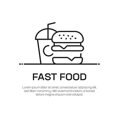 Fast Food Vector Line Icon - Simple Thin Line Icon, Premium Quality Design Element