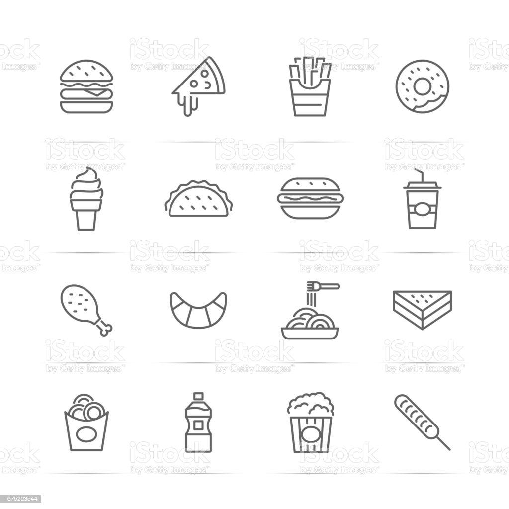 icônes de Fast-Food vecteur ligne - Illustration vectorielle