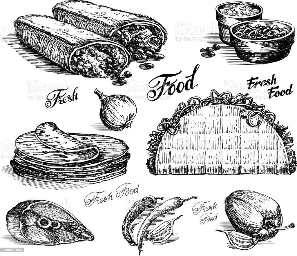 fast food vector logo design template. burritos or tacos icon vector art illustration