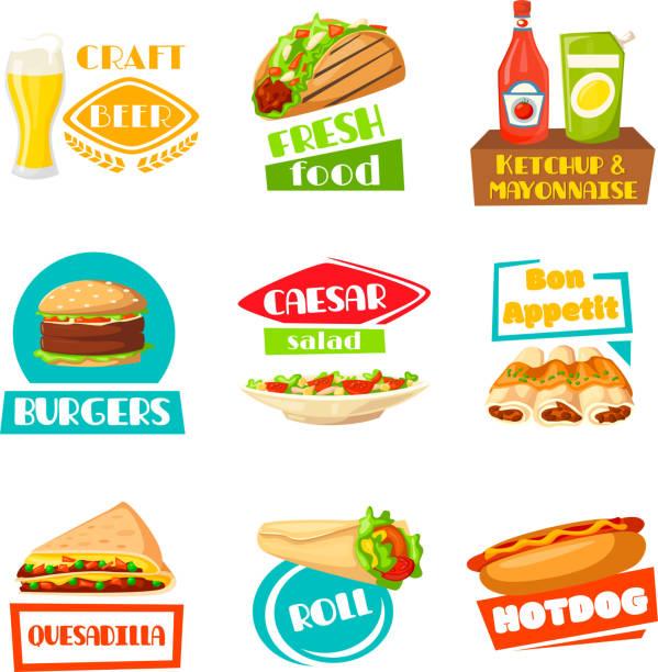 fast-food-vektor-menü-icons set für mahlzeiten - döner stock-grafiken, -clipart, -cartoons und -symbole